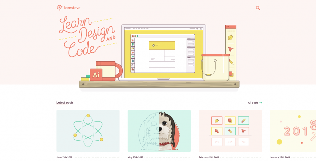 Screenshot of the homepage for the design blog I Am Steve, in a palette of soft baby-pinks and blues