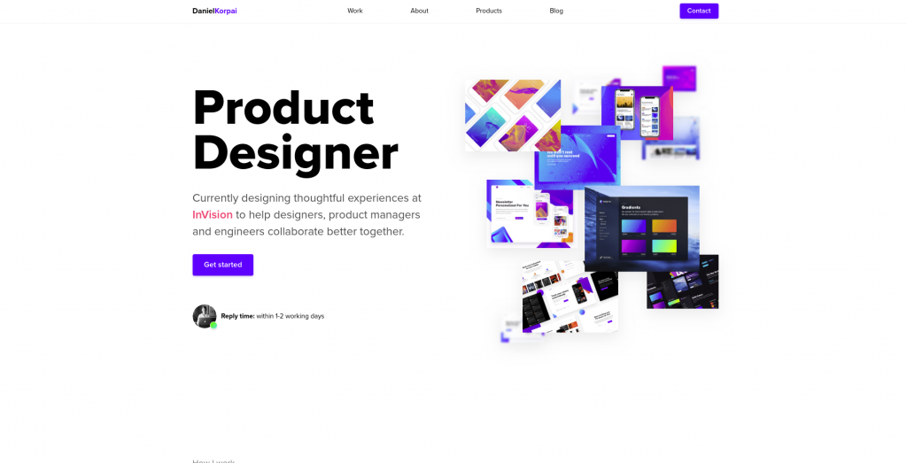 A screenshot of the home page of Daniel Korpai's design portfolio. It has a minimal approach, with the words 'Product Designer' in bold, black text and a collage of screenshots on a white background