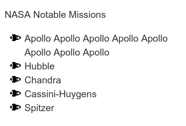 A simple, bullet-point list in sans-serif font, using small black spaceship icons as billet-points