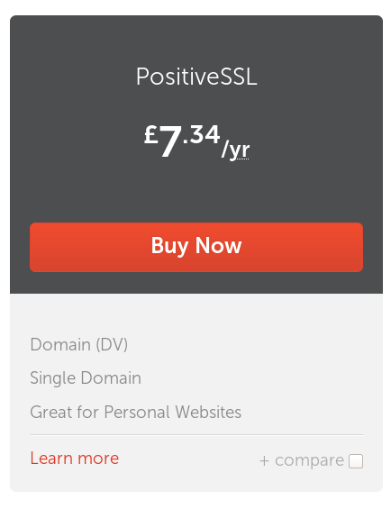 An advert for SSL certification in light and dark grey, with a large rectangular red button in the middle that reads 'Buy Now'