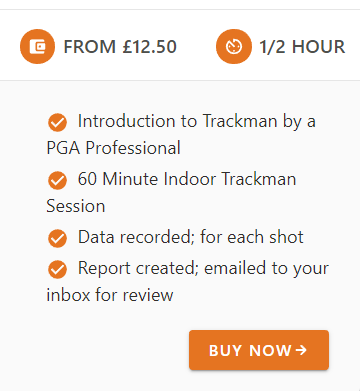A bullet-point list of services offered by a golf centre, in rounded sans-serif text on a neutral light-grey background with bold orange highlights