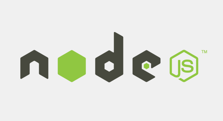 the Node.js logo in hexagonal lettering on a light grey background