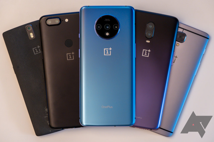 various evolutions of OnePlus mobile devices, including the OnePlus 7T (the most recently available on the smartphone market)