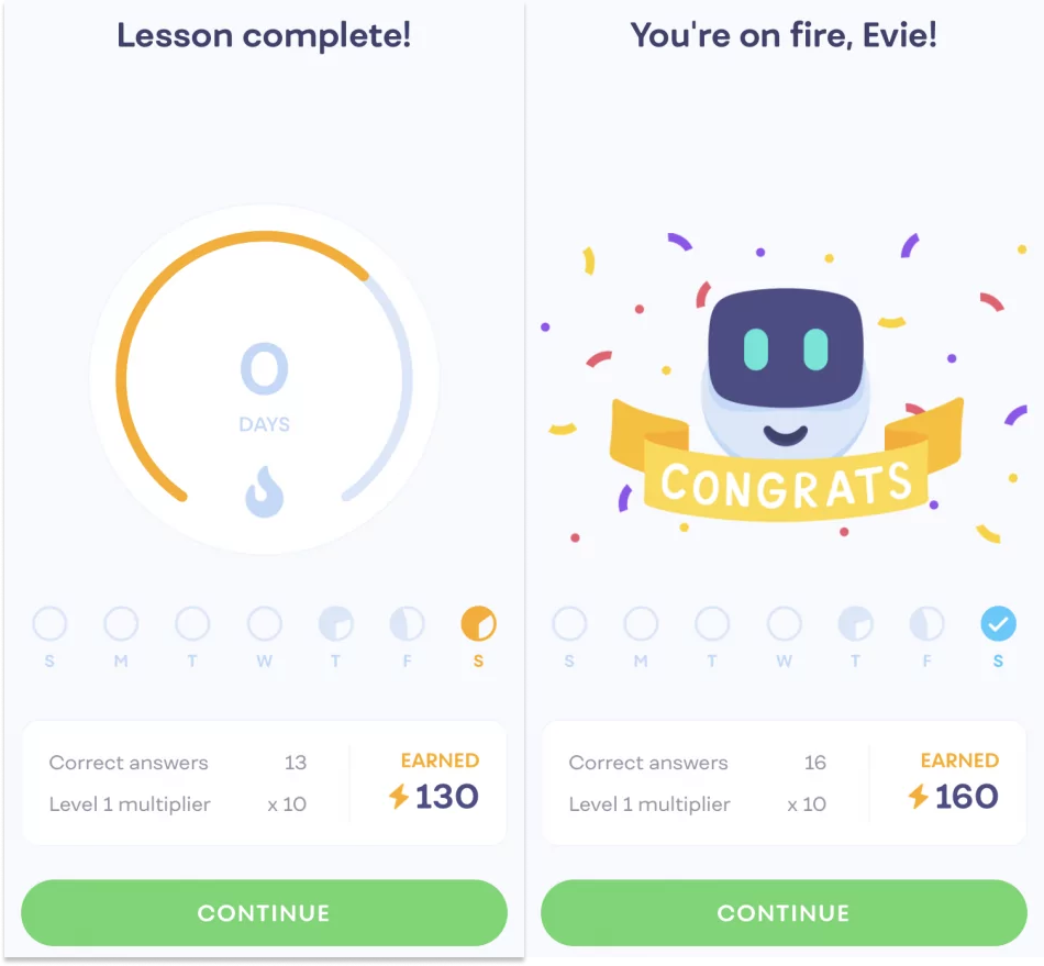 two 'lesson complete' screens on the Mimo app, one reading 'Lesson complete!' and the next reading 'You're on fire, Evie!'