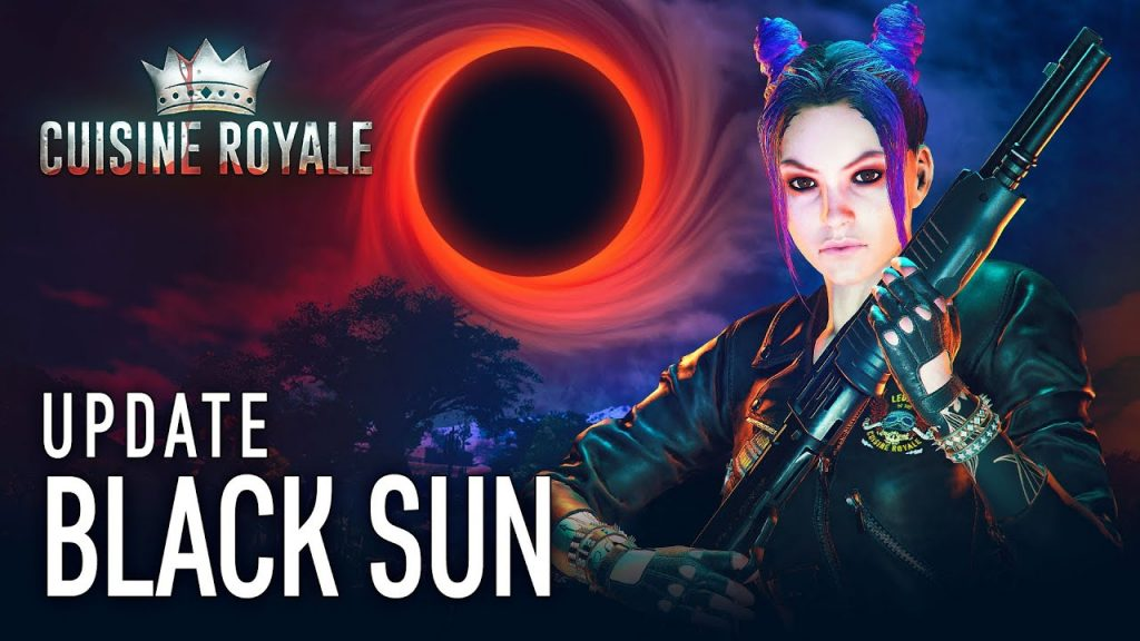 promotional shot for the game 'Cuisine Royal' from gaijin entertainment. It depicts a woman in a leather jacket holding a large rifle, with a black sun in the background.