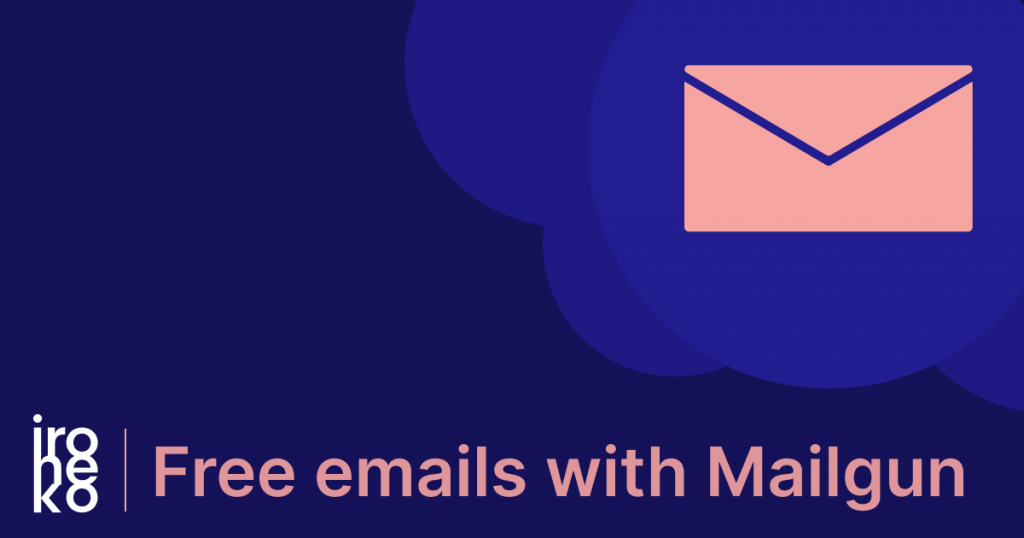 "a blue and pink illustration of an email icon with the words ""Free emails with mailgun"""