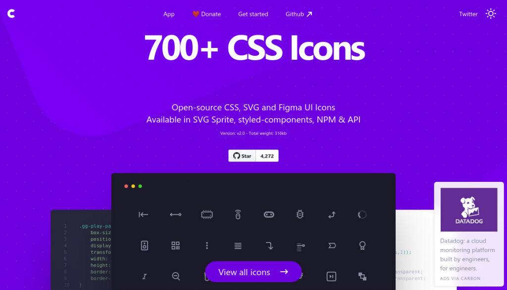 The css.gg homepage, displaying examples from their icons set, and the title '700+ CSS Icons' on a purple background