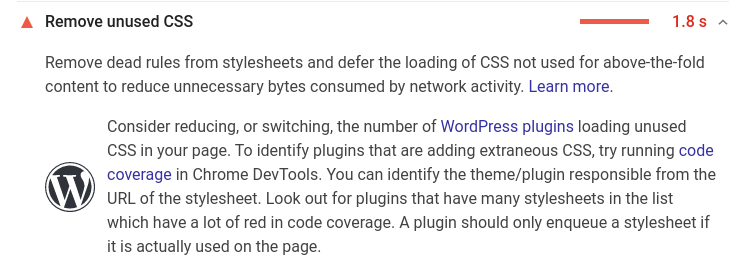 An example of something you don't want to see on an analysis of a small business website. 'Remove Unused CSS'